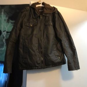 Men's Guess Brown Leather Jacket